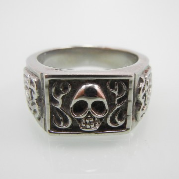 Badge Skull Antique Stainless Steel Ring