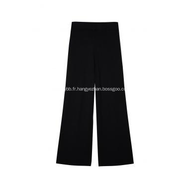 Pantalon jupe-culotte tricoté à taille haute pour femmes