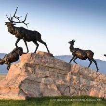 Aménagement paysager jardin statues de haute qualité en métal carpe bronze wapiti statue