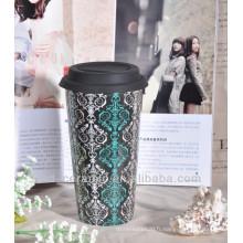 Tasse en céramique moderne en porcelaine chinoise avec couvercle et manche en silicone