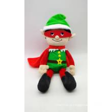 Super-herói de duende de Natal de pelúcia