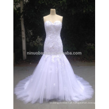 2015 Real Photoes Em Stock Mermaid Lace Appliques Sweetheart Vestido de noiva Fast Shipping Vestidos de noiva em Tulle preto NB1278