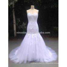2015 реальные фото в наличии Русалка кружева аппликация милая свадебное платье быстрая доставка Белый тюль свадебные платья NB1278