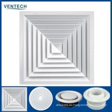 Precio barato China Ventilador de aire del difusor de techo cuadrado de aluminio