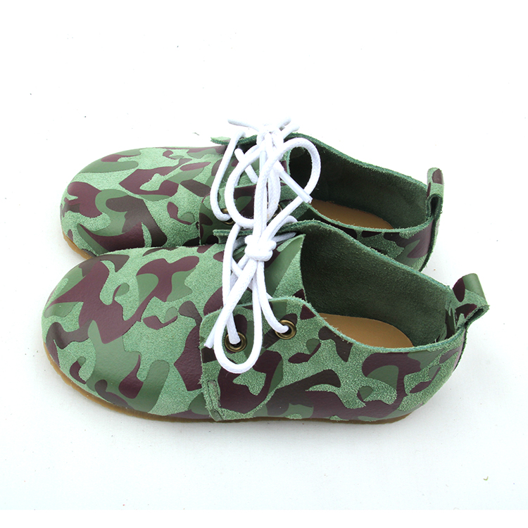 Army Green Rubber Sole Kids Oxford Shoes