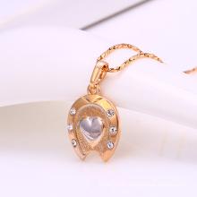 31650-vente chaude multicolore strass en forme de coeur mode imitation bijoux collier pendentif