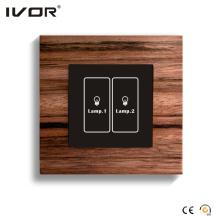 Interruptor de iluminación de 2 pandillas Marco de contorno de material de madera del panel táctil (HR1000-WD-L2)