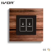 2 Gangs Lighting Switch Touch Panel Wood Material Outline Frame (HR1000-WD-L2)