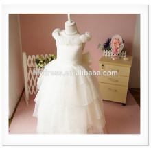 Fancy White Layered A-Line Scalloped sans manches Custom Vestidos Girl Dress pour mariage FG004 flower-girl-dress-patterns