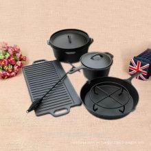 Conjunto de camping de hierro fundido horno de fuego horno holandés