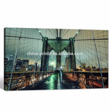 Paisaje del paisaje urbano de Nueva York / arte de la pared del puente de Brooklyn / fotografía moderna del paisaje