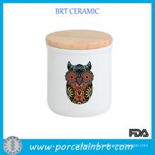 Búho de impresión de jarras de velas de cerámica con tapas de madera