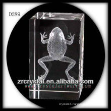 K9 3D Laser Etched Frog Inside Crystal Rectangle