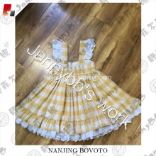Yellow white lattice design ruffle shoulder dress