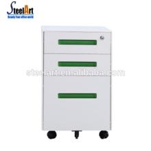 Cabinet mobile de bureau en métal de 3 tiroirs / armoire mobile en métal de poignée verte