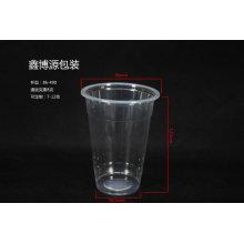 Tasse à boire en plastique transparent avec couvercle en dôme