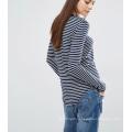 Fashion Custom Wholesale Supersoft Curve Hem Stripe Women Top