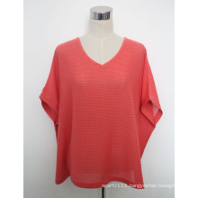 Women Fashion Cotton Knitted V-Neck Tee Shirt (YKY2030-4)