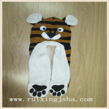 kids knitted tiger hooded scarf  3 in 1