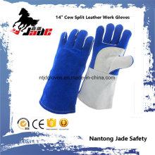 Luva de trabalho de soldagem de segurança industrial de pele de vaca anti-quente