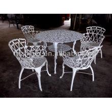 Juego de muebles de aluminio de 5 piezas, muebles de exterior, mesa redonda