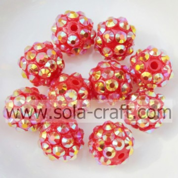 Hot Sale 12mm Gold Red AB Rhinestone Chunky Resin Beads