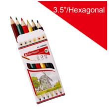 Crayon de couleur bois avec baril hexagonal