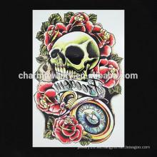 OEM al por mayor tatuaje de flores de tatuaje de falsos brazos tatuaje pánico cráneo tatuaje brazo W-1089