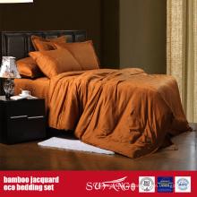 Folhas de bambu do hotel do luxo do grupo de roupa de cama do jacquard da fibra de bambu