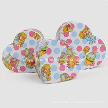 Hearted forma de papel de impresión de embalaje de regalo cajas para juguetes de bebé
