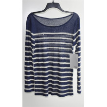 Round Neck Striped Pullover Knit Sweater for Ladies