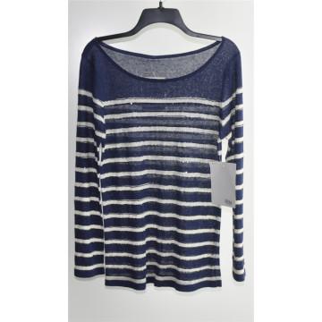 Rodada pescoço striped sweater sweater para senhoras
