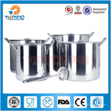 large stainless steel chinese hot pot restaurant with ladle