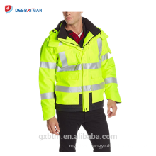 2017 High Visibility Winter Padded Construction Workwear motorcycle Jackets 3M safety reflective jacket