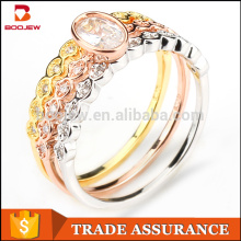 wholesale Dubai pure silver gold wedding rings women accessory jewelry set Sterling silver ring jewelry set