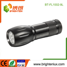 Factory Bulk Sale 3*AAA Battery Operated Aluminium Material Emergency Used Portable Cheap 9 led Flashlight