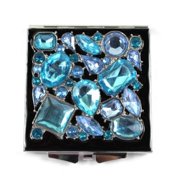 Bleu Jeweled miroirs Compact