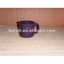 Grueso de color púrpura de cerámica Taza de café con esmaltes Tazas con acabado de mármol para uso de horno de microondas Seguro
