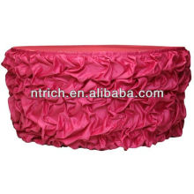 Colorful Charming satin ruffled table skirt for wedding decorative table skirts