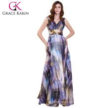 Grace Karin cuello en V sin mangas vestido de fiesta de gasa impreso vestido de fiesta de baile GK000115-1