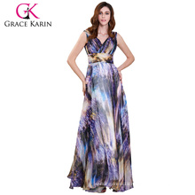 Grace Karin V neck Sleeveless Chiffon Ball Gown Printed Prom Party Dress GK000115-1