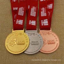 Médaille Personnalisée Personnalisée en Métal Argent Argent Bronze Sport