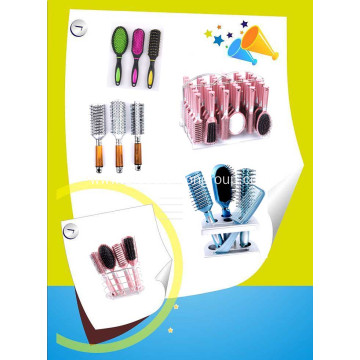 professional high quality soft plastic hairbrush and mirror set