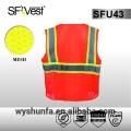 ANSI / ISEA 107-2010 chaleco de carretera chaleco de seguridad de alta visibilidad tejido 100% poliéster cinta reflectante 3M muchos bolsillos delanteros