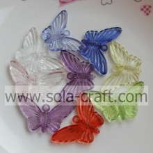 Many Of Acrylic Butterfly Transparent Beads Plastic Stripe Bowtie trimming