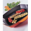Enamel coating Cast-Iron Square Grill Pan/griddle pan