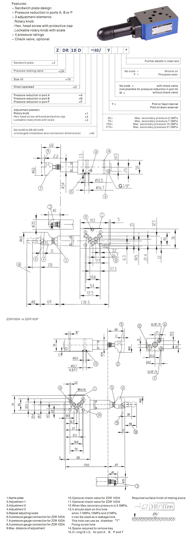 Pilot Pressure Regulating Control Valve