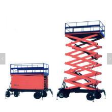 Plataforma de trabajo de elevación hidráulica de cadena de carril de guía elevador