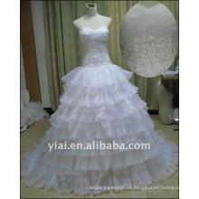 JJ2517 El Organza libre del envío rebordeó el vestido de boda nupcial del cordón