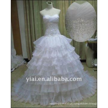 JJ2517 Vestido de noiva com pérolas com pérolas de organza com decalque grátis